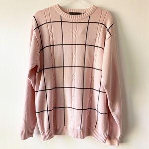 NWT Oscar De La Renta Pink Windowpane Sweater XXL